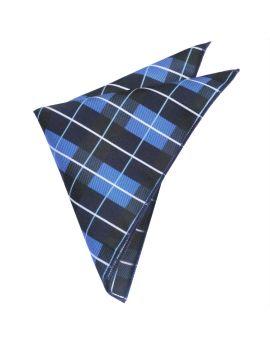 Blue, Black & White Check Plaid Pocket Square
