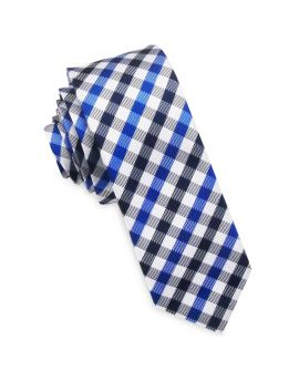 Blue, Black & White Check Skinny Tie
