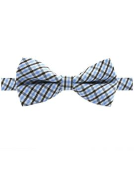 Boys Black, White and Blue Gingham Bow Tie