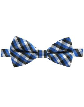 blue black and white check boy's bow tie