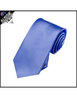 Boys Cornflower Dark Serenity Blue Plain Necktie