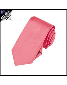 Boys Dark Coral Salmon Melon Plain Necktie