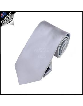Boys Mid Silver Grey Plain Necktie