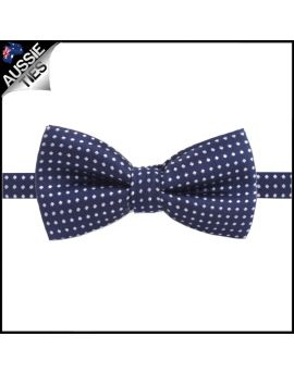 Midnight Blue with White Polkadots Boy's Bow Tie
