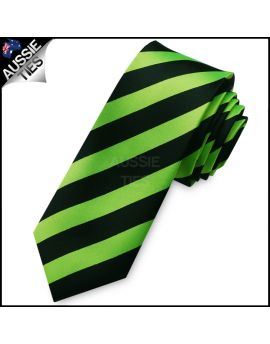 Bright Green & Black Mens Skinny Tie