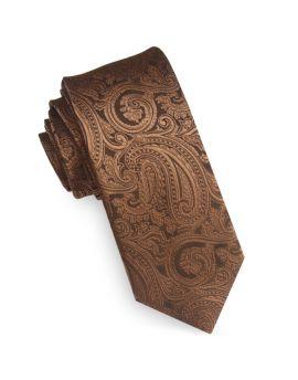 Bronze Paisley Mens Skinny Tie