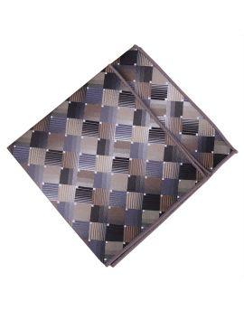 Bronze, Silver & Copper Check Pocket Square