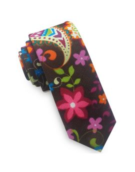 Brown Pink Orange & Blue Floral Skinny Tie