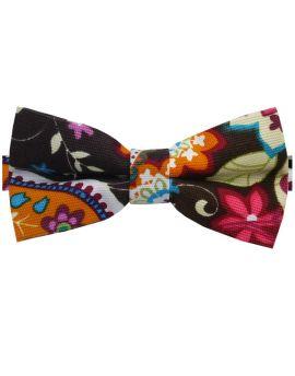 Brown Pink, Blue & Orange Floral Bow Tie