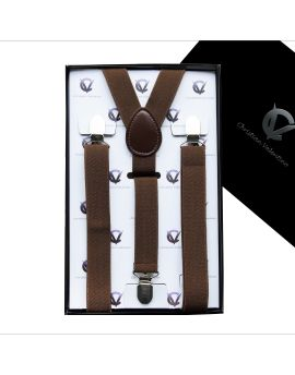 Boy's Mid Brown Braces Suspenders Y2.5cm