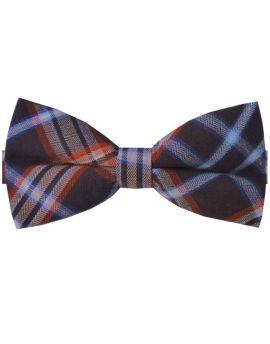Brown, Orange, Blue & White Plaid Bow Tie