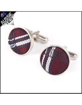 Mens Burgundy Plaid Cufflinks