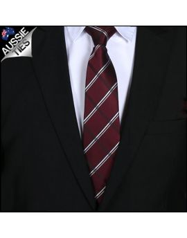 Burgundy Plaid Mens Tie