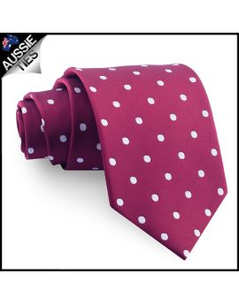 Burgundy Polka Dot Mens Tie