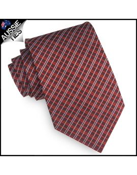 Burgundy Red & White Crosshatch Mens Tie
