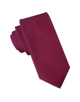 burgundy red cotton blend skinny tie