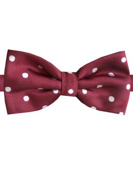 Burgundy Polka Dot Mens Bow Tie