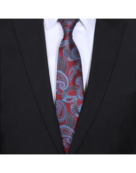 mens burgundy and blue paisley tie