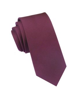 red ribbed slim tie