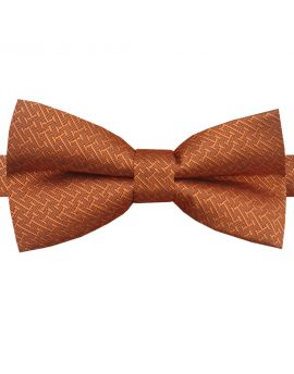 Burnt Orange with Bar Texture Bow Tie