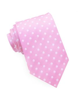 Candy Pink Polka Dot Mens Tie