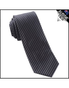 Charcoal & Black Thin Stripes Mens Necktie