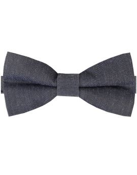 Charcoal Dark Grey Cotton Mens Bow Tie
