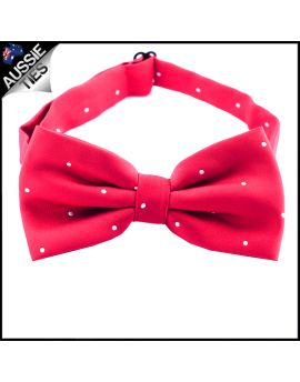 Scarlet Red Pin Dot Mens Bow Tie