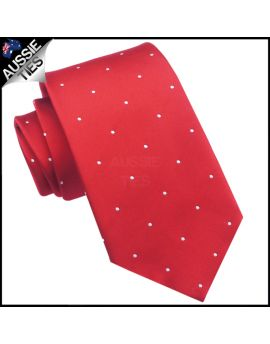 Scarlet Red Pin Dot Mens Tie