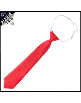 Cherry Red Junior Boys Elasticated Necktie