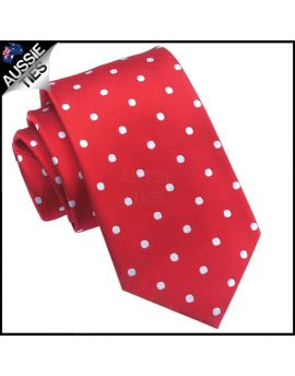 Scarlet Red Polka Dot Mens Tie