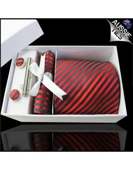 Cherry, Scarlet & Black Narrow Stripes Tie Set