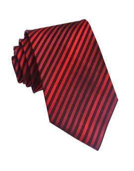 Cherry, Scarlet & Black Narrow Stripes Mens Tie