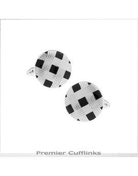 Circular Black with Silver Lattice Cufflinks