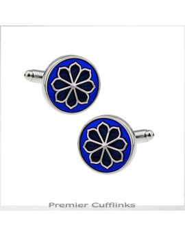 Circular Blue with Floral Pattern Cufflinks