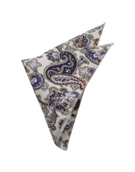 Cream with Blue Floral Paisley Pocket Square