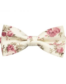 cream with pink roses floral bow tie