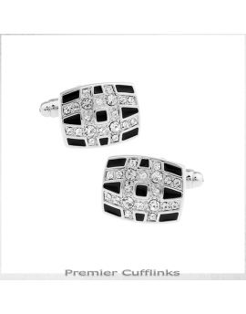 Curved Diamante Lines On Black Cufflinks