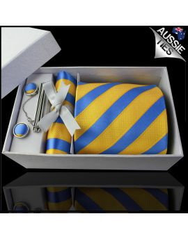Blue with Textured Yellow Stripes Tie Set