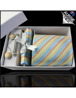 Light Blue with Orange and Gold Stripes Tie Set