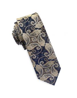 Dark Blue and Gold Paisley Mens Skinny Tie