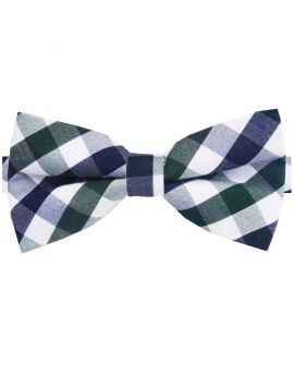 Dark Blue, Green & White Check Bow Tie