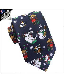 Dark Blue Let It Snow Christmas Tie