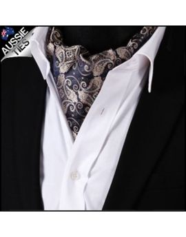 Dark Blue & Gold Paisley Ascot Cravat