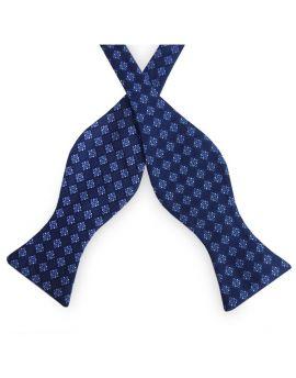 Dark Blue with Light Blue & White Check Pattern Self Tie Bow Tie