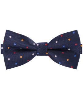 Dark Blue with Multi Coloured Polkadots Bow Tie