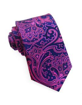 Dark Blue with Pink Floral Design Tie
