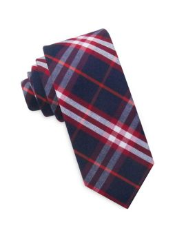 Dark Blue with Red & White Tartan Skinny Tie