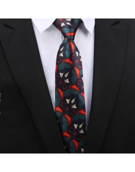 dark blue with red and green geometric floral tie