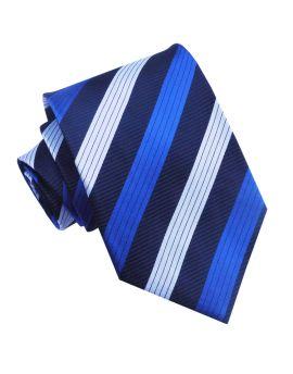 Dark Blue with White & Royal Blue Stripes Mens Tie